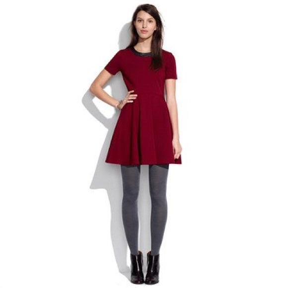 Madewell Dresses & Skirts - Madewell Red Skater dress with Leather collar- med